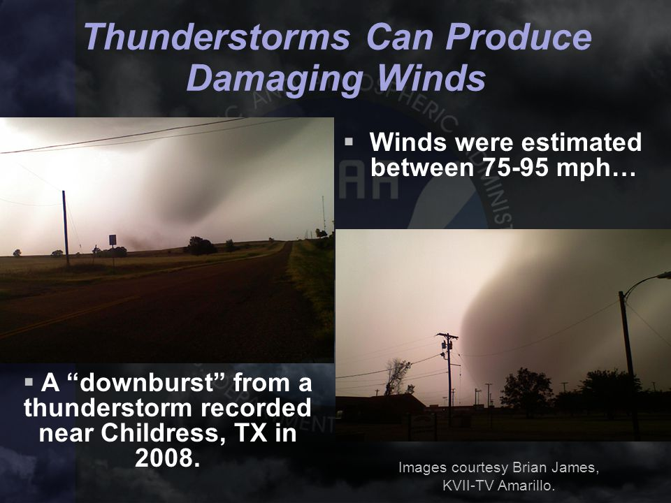 """ A """"downburst"""" from a thunderstorm recorded near Childress, TX in 2008.  Winds were estimated between 75-95 mph… Images courtesy Brian James, KVII-T"""