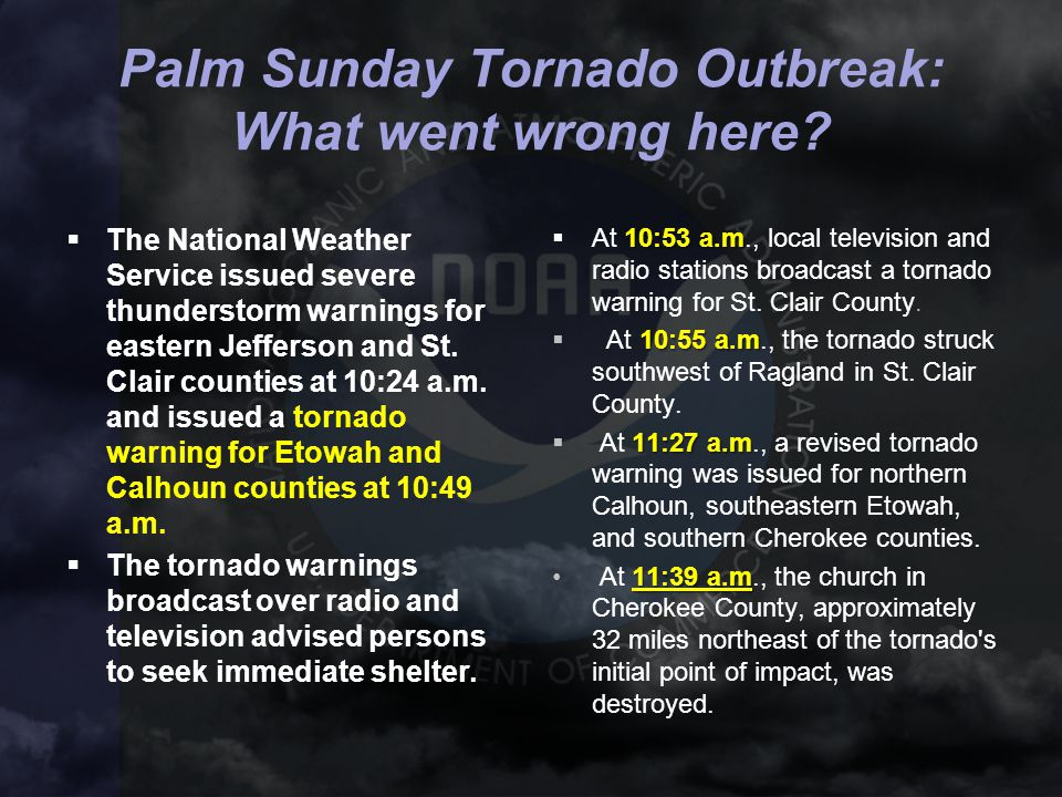 Palm Sunday Tornado Outbreak: What went wrong here?  The National Weather Service issued severe thunderstorm warnings for eastern Jefferson and St. C