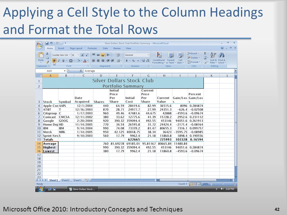 Applying a Cell Style to the Column Headings and Format the Total Rows 42 Microsoft Office 2010: Introductory Concepts and Techniques