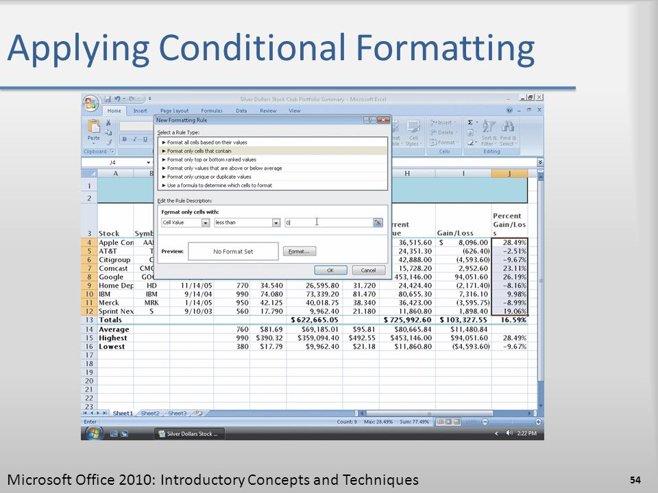 Applying Conditional Formatting Microsoft Office 2010: Introductory Concepts and Techniques 54