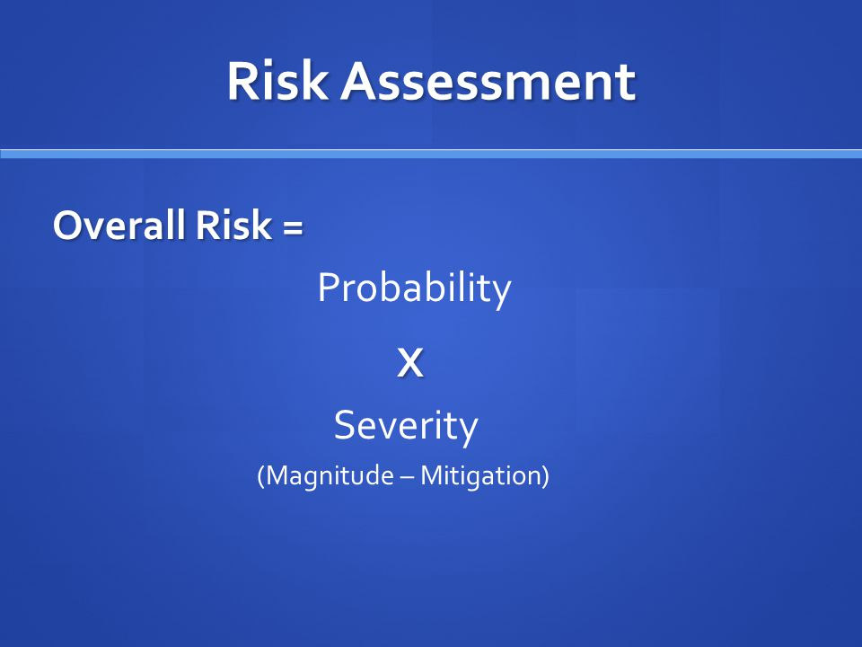 Risk Assessment Overall Risk = ProbabilityX Severity (Magnitude – Mitigation)