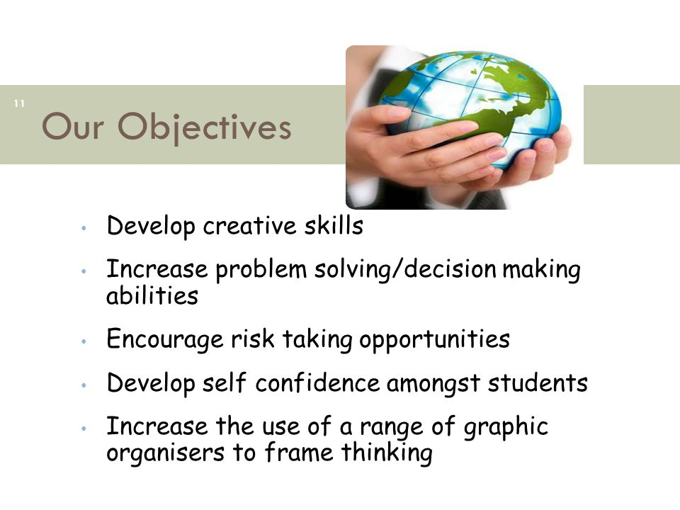 Our Objectives 11 Develop creative skills Increase problem solving/decision making abilities Encourage risk taking opportunities Develop self confiden