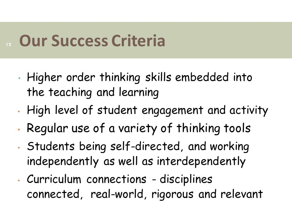 Our Success Criteria 12 Higher order thinking skills embedded into the teaching and learning High level of student engagement and activity Regular use