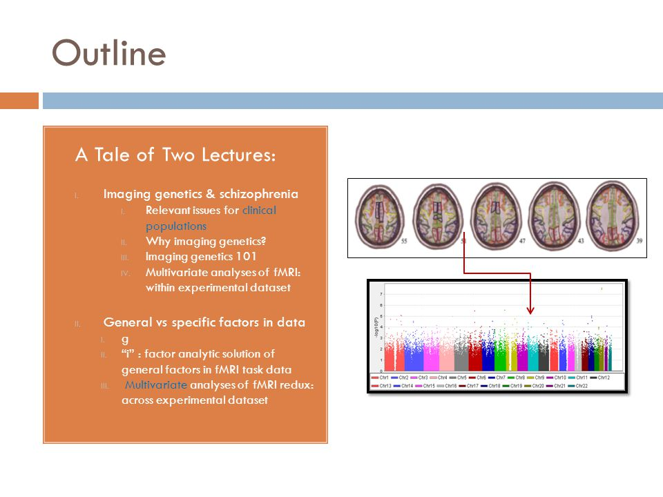 Outline A Tale of Two Lectures: I. Imaging genetics & schizophrenia I. Relevant issues for clinical populations II. Why imaging genetics? III. Imaging