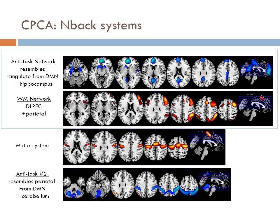 CPCA: Nback systems Anti-task Network resembles cingulate from DMN + hippocampus WM Network DLPFC +parietal Motor system Anti-task #2 resembles pariet