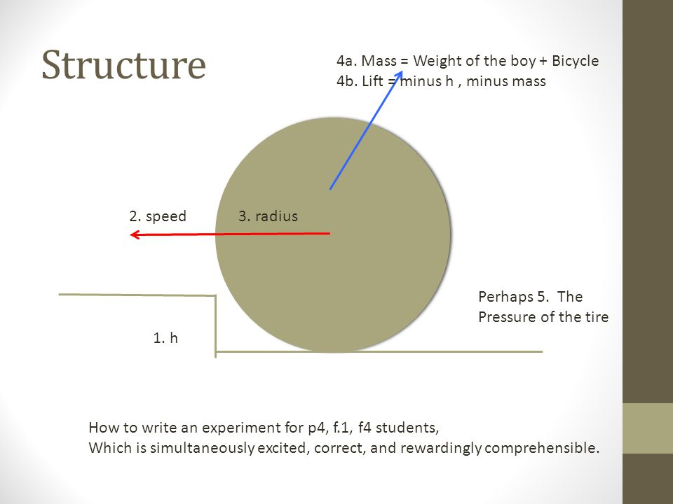 Structure 1. h 2. speed 4a. Mass = Weight of the boy + Bicycle 4b.