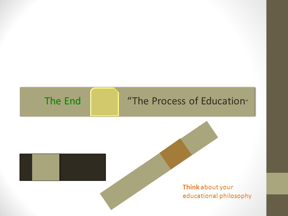 The End The Process of Education Think about your educational philosophy