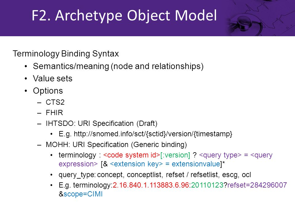 Terminology Binding Syntax Semantics/meaning (node and relationships) Value sets Options –CTS2 –FHIR –IHTSDO: URI Specification (Draft) E.g.