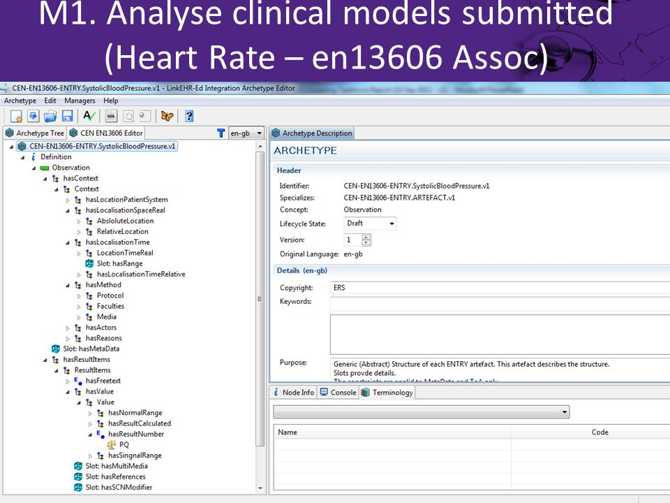 M1. Analyse clinical models submitted (Heart Rate – en13606 Assoc)