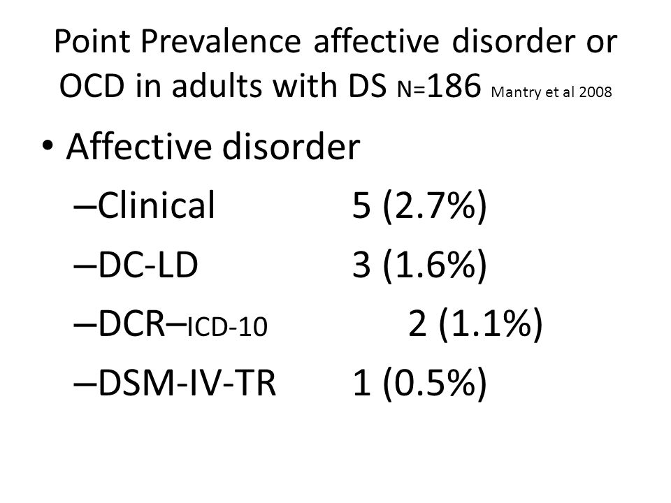 Point Prevalence affective disorder or OCD in adults with DS N= 186 Mantry et al 2008 Affective disorder – Clinical 5 (2.7%) – DC-LD 3 (1.6%) – DCR– I