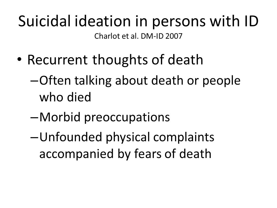Suicidal ideation in persons with ID Charlot et al.