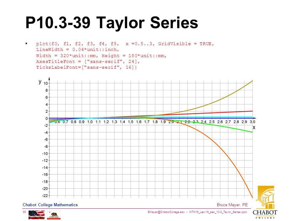 BMayer@ChabotCollege.edu MTH16_Lec-19_sec_10-3_Taylor_Series.pptx 39 Bruce Mayer, PE Chabot College Mathematics P10.3-39 Taylor Series  plot(f0, f1,