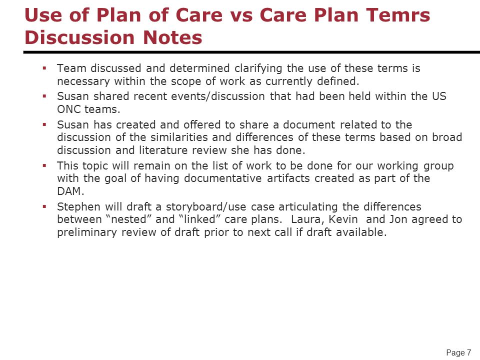 Page 7 Use of Plan of Care vs Care Plan Temrs Discussion Notes  Team discussed and determined clarifying the use of these terms is necessary within the scope of work as currently defined.