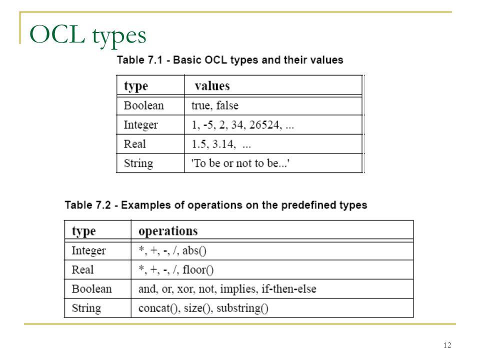 12 OCL types
