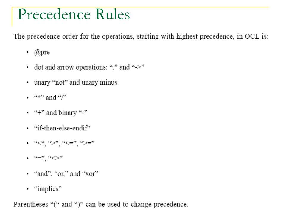 13 Precedence Rules