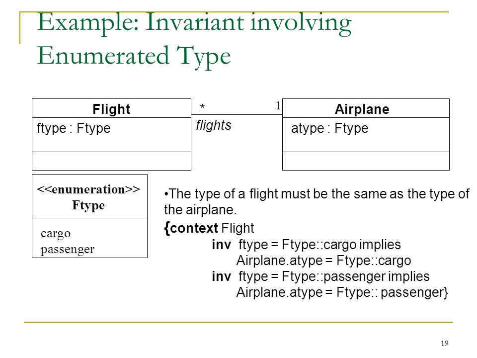 19 Example: Invariant involving Enumerated Type The type of a flight must be the same as the type of the airplane.