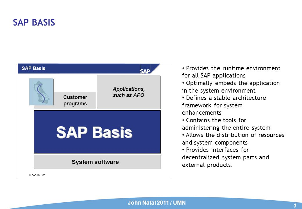 SAP BASIS John Natal 2011 / UMN 1 Provides the runtime environment for all SAP applications Optimally embeds the application in the system environment Defines a stable architecture framework for system enhancements Contains the tools for administering the entire system Allows the distribution of resources and system components Provides interfaces for decentralized system parts and external products.