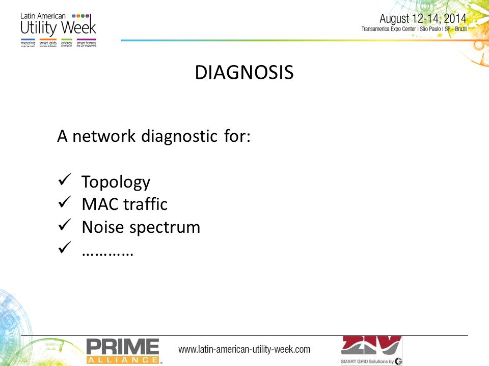 DIAGNOSIS A network diagnostic for: Topology MAC traffic Noise spectrum …………