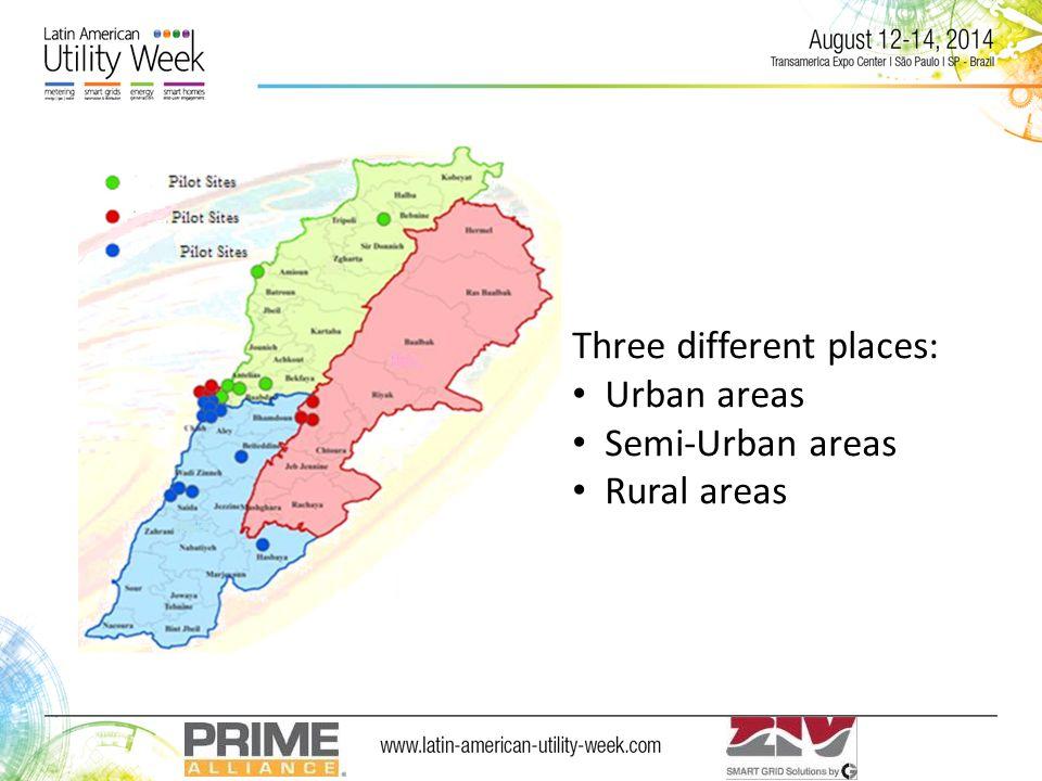 Three different places: Urban areas Semi-Urban areas Rural areas