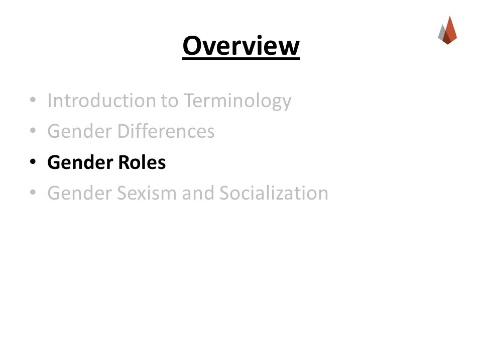 Overview Introduction to Terminology Gender Differences Gender Roles Gender Sexism and Socialization