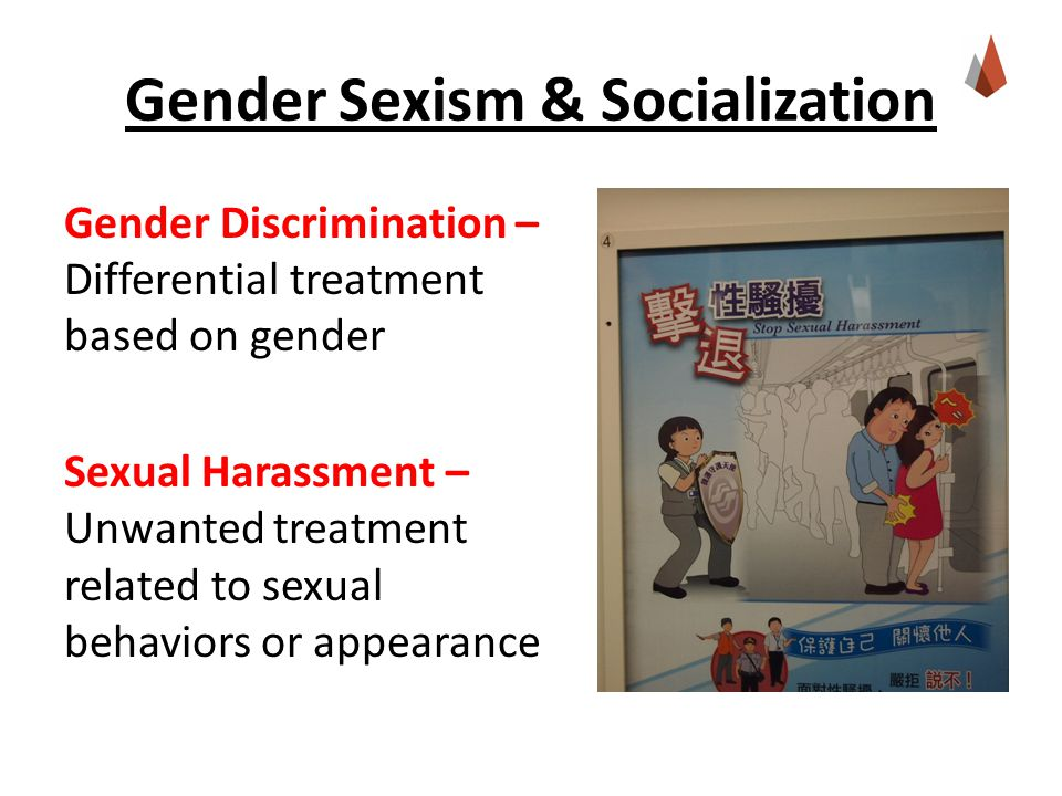 Gender Sexism & Socialization Gender Discrimination – Differential treatment based on gender Sexual Harassment – Unwanted treatment related to sexual behaviors or appearance