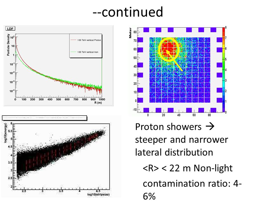 --continued < 22 m Non-light contamination ratio: 4- 6% Proton showers  steeper and narrower lateral distribution