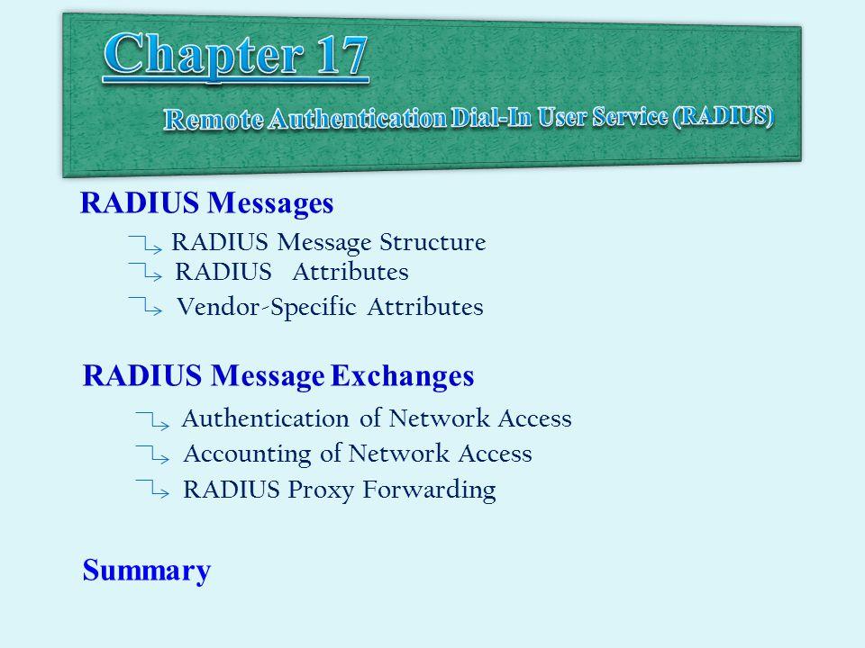 RADIUS Messages RADIUS Message Structure RADIUS Attributes Vendor-Specific Attributes RADIUS Message Exchanges Authentication of Network Access Accounting of Network Access RADIUS Proxy Forwarding Summary