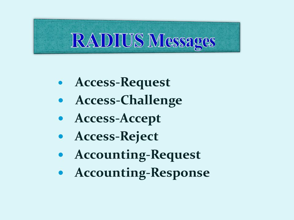 Access-Request Access-Challenge Access-Accept Access-Reject Accounting-Request Accounting-Response