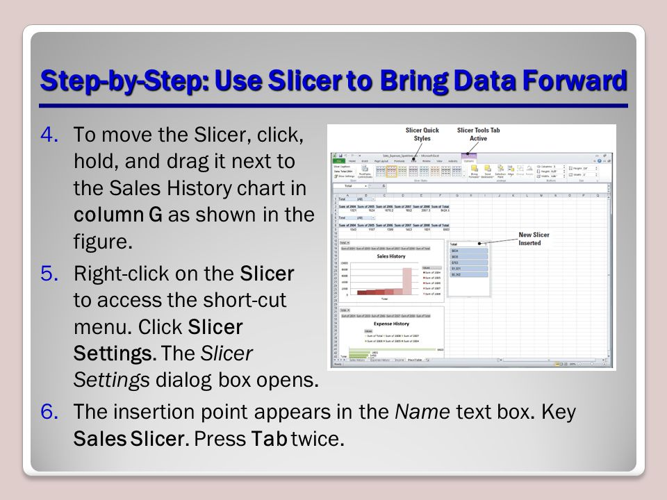 Step-by-Step: Use Slicer to Bring Data Forward 4.To move the Slicer, click, hold, and drag it next to the Sales History chart in column G as shown in the figure.