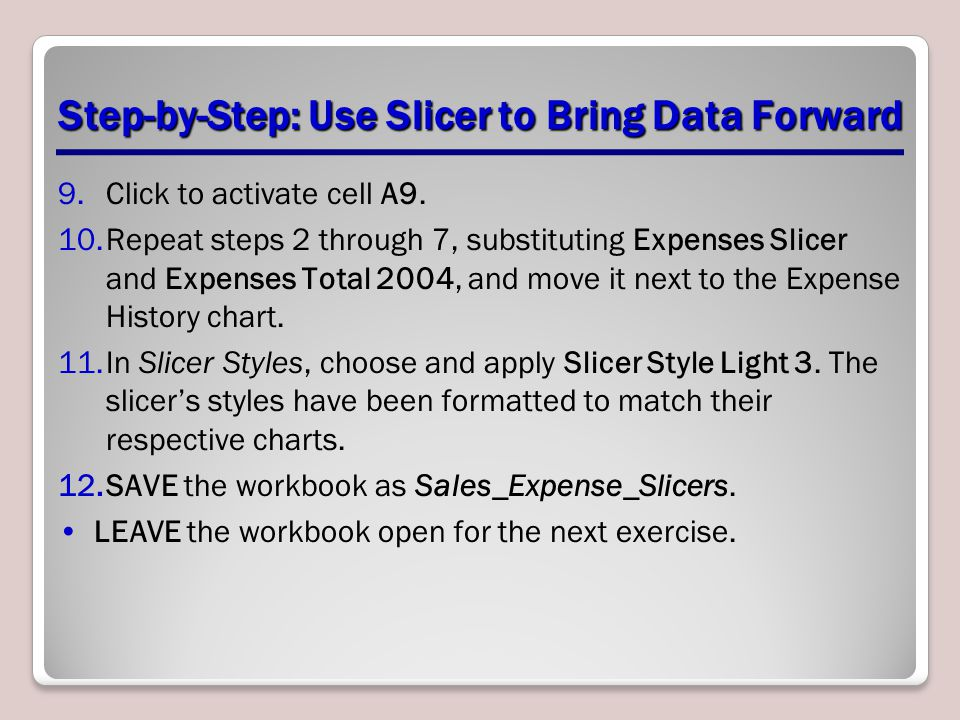 Step-by-Step: Use Slicer to Bring Data Forward 9.Click to activate cell A9.