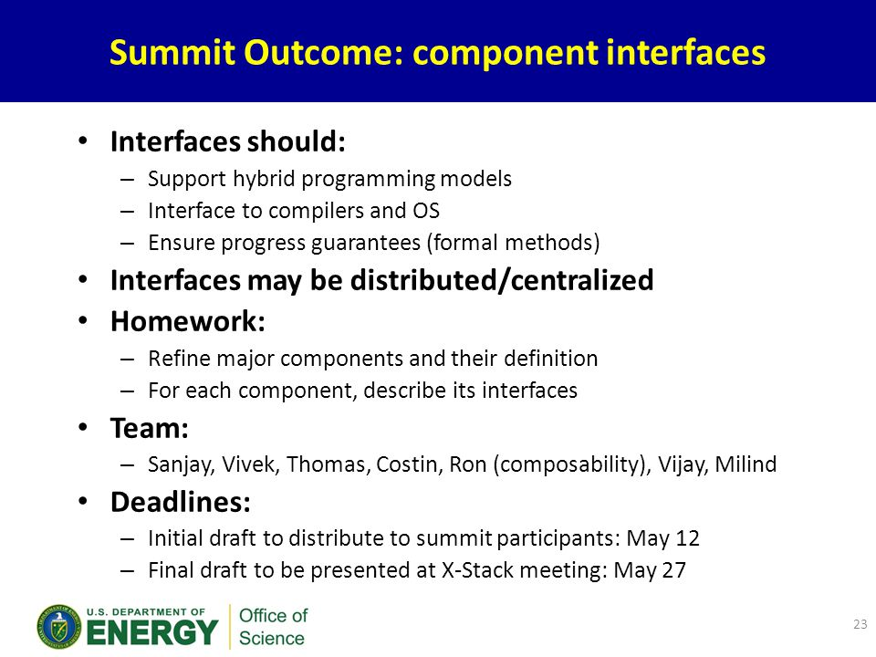 Summit Outcome: component interfaces 23 Interfaces should: – Support hybrid programming models – Interface to compilers and OS – Ensure progress guarantees (formal methods) Interfaces may be distributed/centralized Homework: – Refine major components and their definition – For each component, describe its interfaces Team: – Sanjay, Vivek, Thomas, Costin, Ron (composability), Vijay, Milind Deadlines: – Initial draft to distribute to summit participants: May 12 – Final draft to be presented at X-Stack meeting: May 27