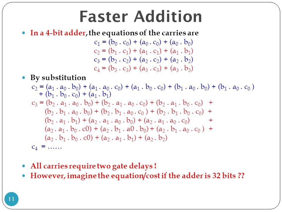 Faster Addition In a 4-bit adder, the equations of the carries are c 1 = (b 0. c 0 ) + (a 0. c 0 ) + (a 0. b 0 ) c 2 = (b 1. c 1 ) + (a 1. c 1 ) + (a