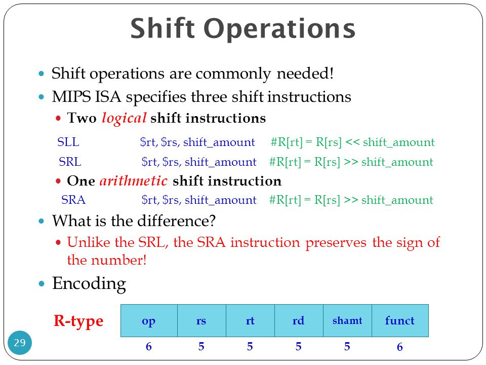 Shift Operations Shift operations are commonly needed! MIPS ISA specifies three shift instructions Two logical shift instructions SLL$rt, $rs, shift_a