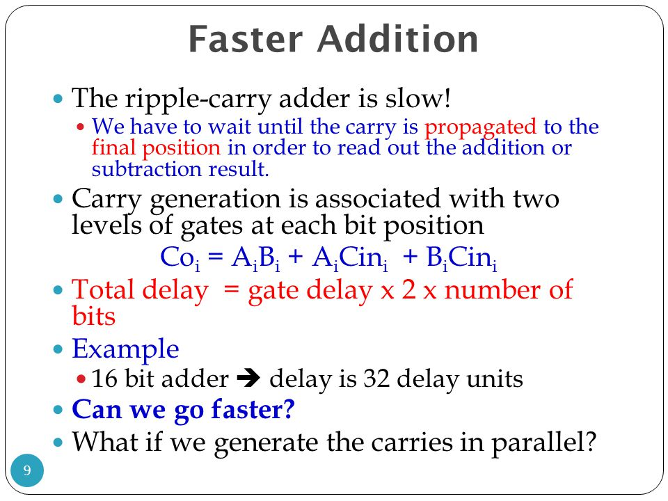 Faster Addition The ripple-carry adder is slow! We have to wait until the carry is propagated to the final position in order to read out the addition