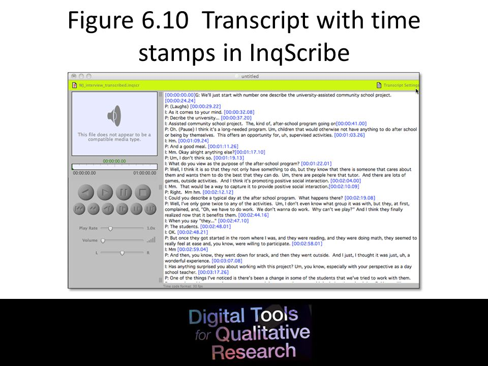 Figure 6.10 Transcript with time stamps in InqScribe