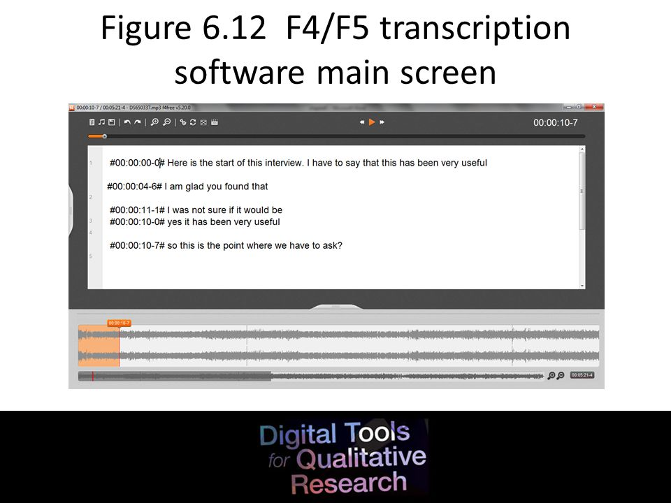 Figure 6.12 F4/F5 transcription software main screen
