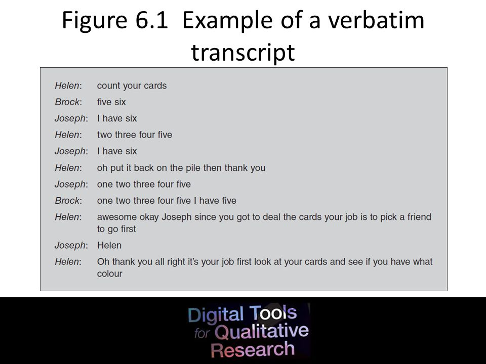 Figure 6.1 Example of a verbatim transcript