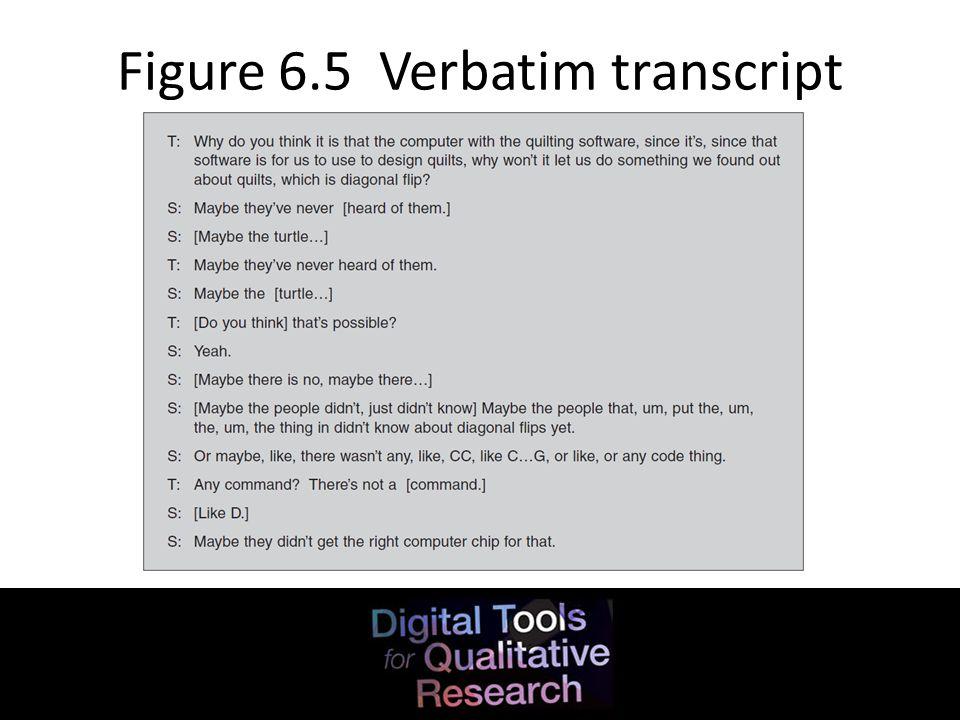 Figure 6.5 Verbatim transcript