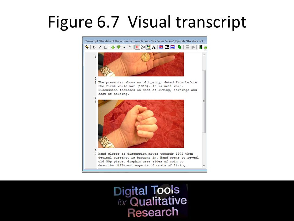 Figure 6.7 Visual transcript