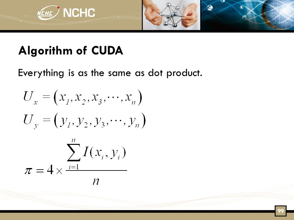 Algorithm of CUDA Everything is as the same as dot product. 99