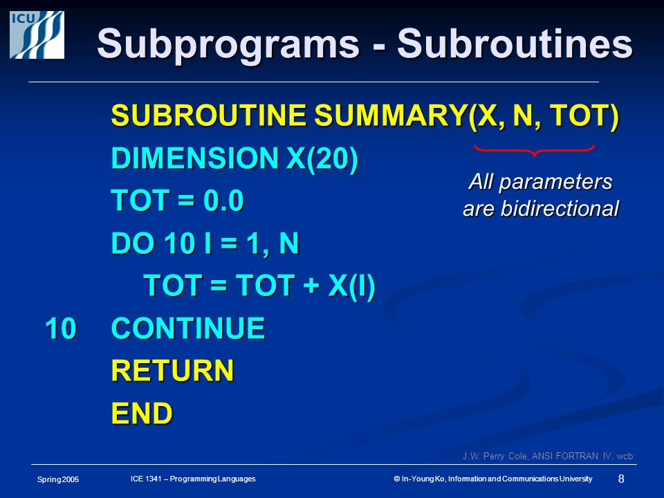 Spring 2005 8 ICE 1341 – Programming Languages © In-Young Ko, Information and Communications University Subprograms - Subroutines SUBROUTINE SUMMARY(X