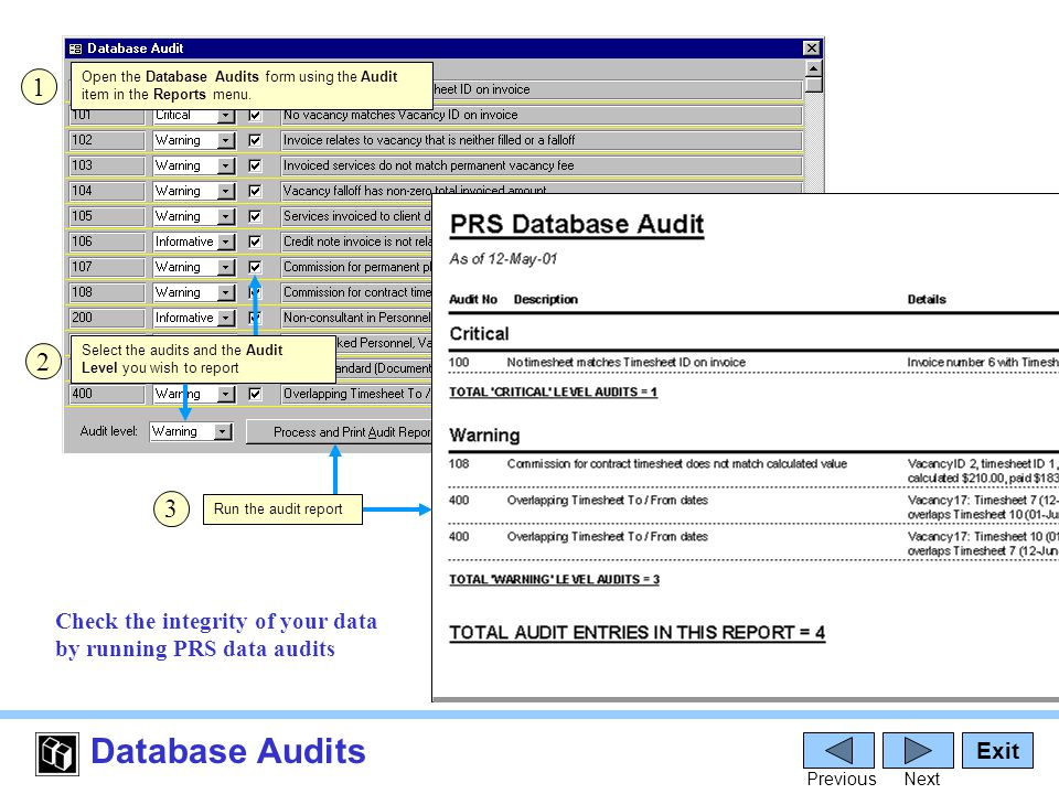 Database Audits Exit PreviousNext Check the integrity of your data by running PRS data audits Open the Database Audits form using the Audit item in the Reports menu.