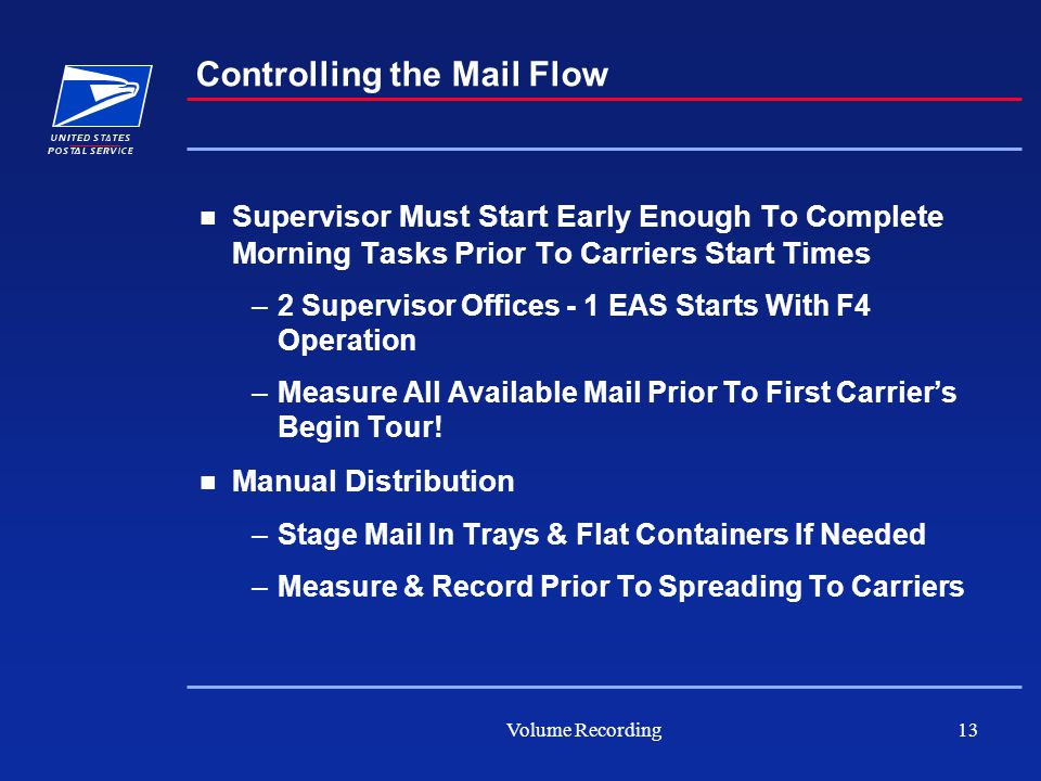 Volume Recording13 Supervisor Must Start Early Enough To Complete Morning Tasks Prior To Carriers Start Times –2 Supervisor Offices - 1 EAS Starts With F4 Operation –Measure All Available Mail Prior To First Carrier's Begin Tour.