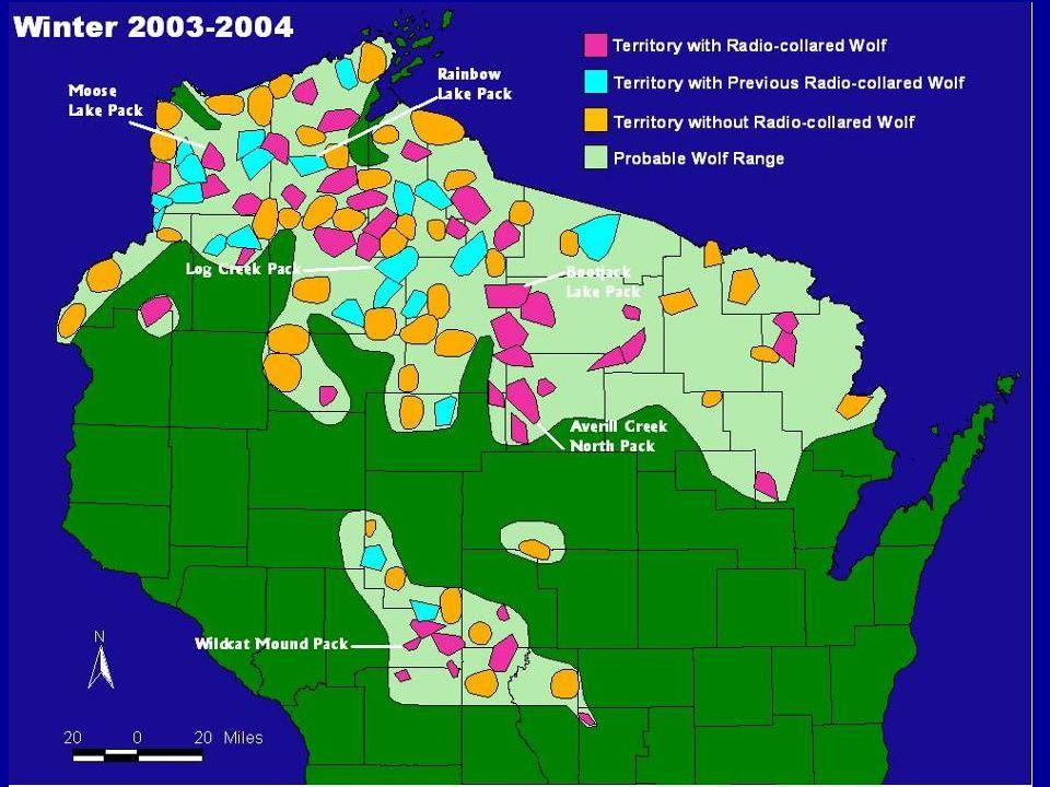 Goals 1.To determine wolf numbers, distribution, breeding status, & identify wolf packs.