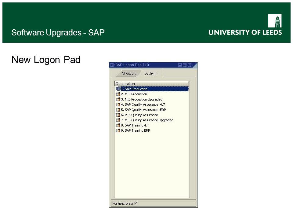 New Logon Pad Software Upgrades - SAP