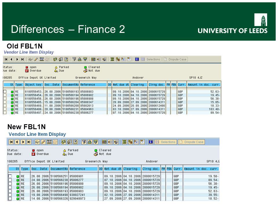 Differences – Finance 2 Old FBL1N New FBL1N