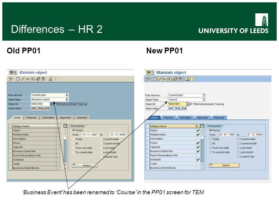 Differences – HR 2 Old PP01 New PP01 'Business Event' has been renamed to 'Course' in the PP01 screen for TEM