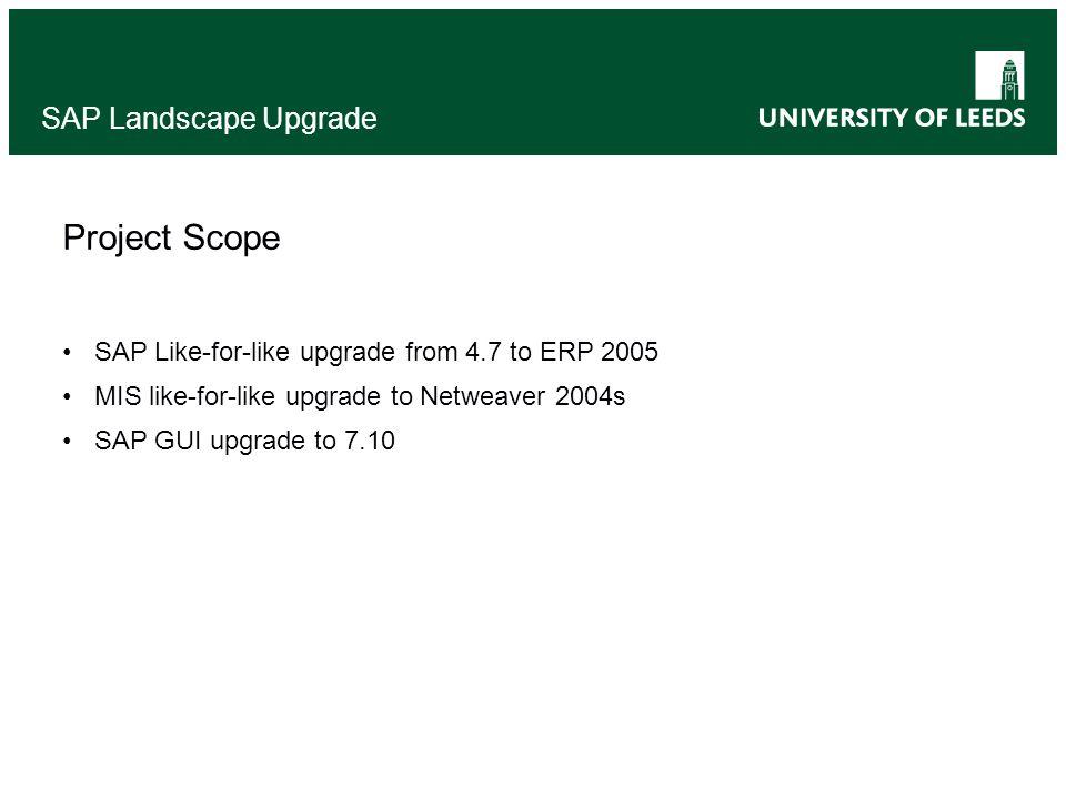 SAP Landscape Upgrade Project Scope SAP Like-for-like upgrade from 4.7 to ERP 2005 MIS like-for-like upgrade to Netweaver 2004s SAP GUI upgrade to 7.1