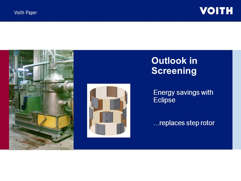 Outlook in Screening Energy savings with Eclipse...replaces step rotor