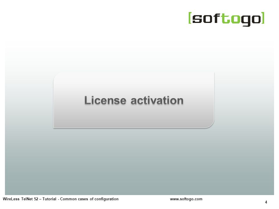5 Options: On-line, by Internet connection.E-mail license request.